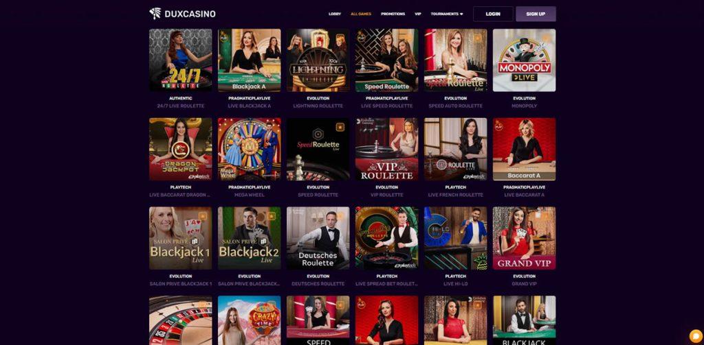 dux live casino